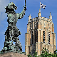 Statue of Jean Bart, naval commander and privateer and the belfry at Dunkirk / Dunkerque, Nord-Pas-de-Calais, France