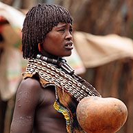 Portrait of Hamar woman in Dimeka, Ethiopia, Africa