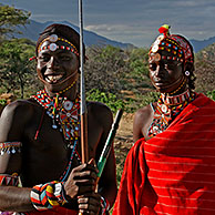 Portrait of Samburu warriors, Kenya, Africa